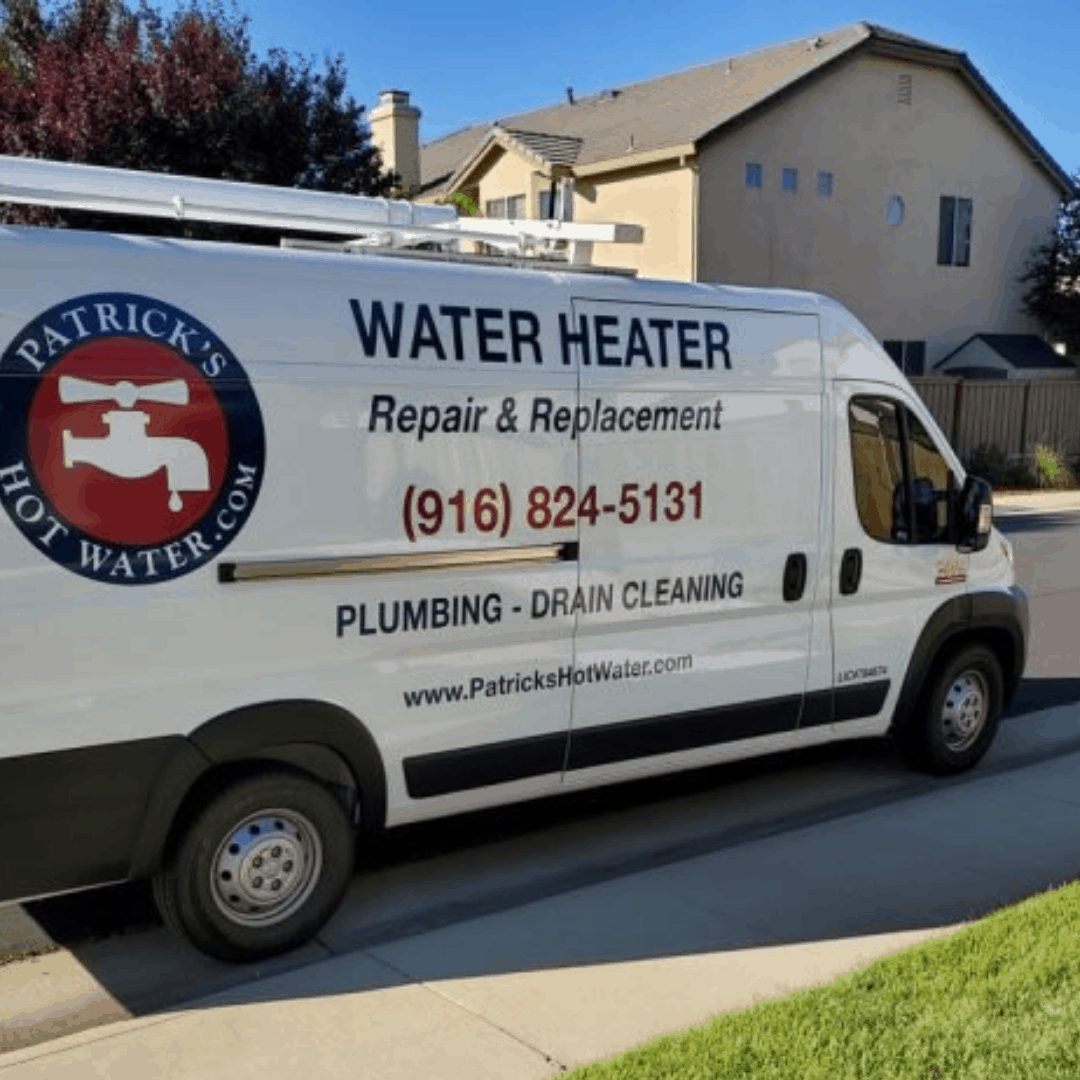 A photo of the service van of Patrick's Hot Water, a Rocklin plumber and water heater service company out on rounds in the neighborhoods of Rocklin, Granite Bay, Roseville, Loomis, Lincoln, and other nearby communities.